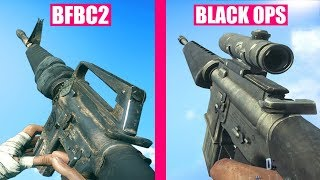 Battlefield Bad Company 2 vs Call of Duty Black Ops Weapons Comparison