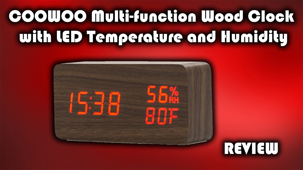 Coowoo led wood clock with temperature and humidity display review coowoo led wood clock with temperature and humidity display review youtube amipublicfo Choice Image