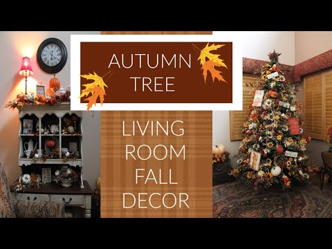HOW TO DECORATE A FALL /AUTUMN TREE - FALL HOME TOUR THE LIVING ROOM - DECORATE WITH ME