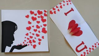 DIY Valentine's day card|Heart Pop Up Card|Making Greeting Card for Anniversary/Valentines|Hearts