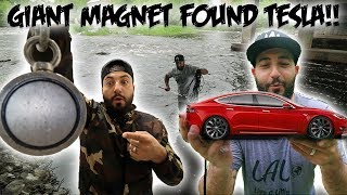I FOUND A TESLA WHILE MAGNET FISHING WITH A GIANT MAGNET!