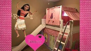 Disney Princess Bed Slide Tent with Moana Elsa Anna Cinderella Belle Sleepover