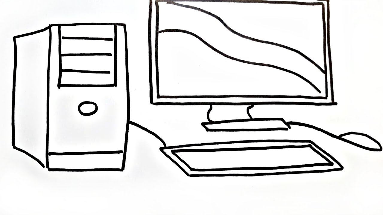 desktop keyboard and mouse coloring pages how to draw