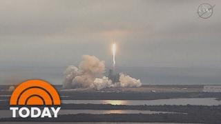 فيديو رائع لهبوط صاروخ سبيس إكس بعد تنفيذ مهمته بنجاح