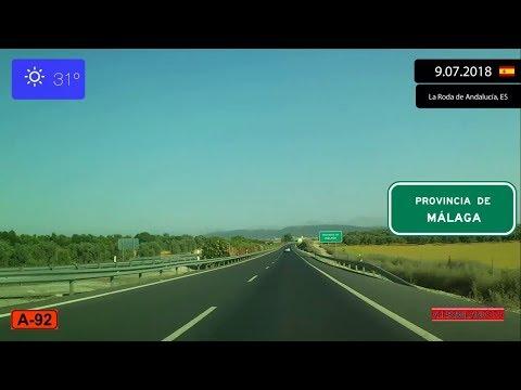Driving Through Andalucía (Spain) From Sevilla To Málaga 9.07.2018 Timelapse X4