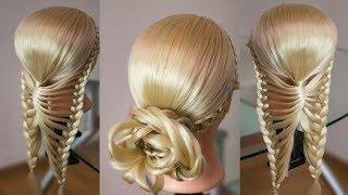 Причёска из косы Бабочка  Peinado de la  trenza maripoza. Цветок из волос