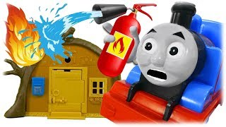 Train Thomas to the Recue Masha and Bear The Fire at the Home of Cartoon Characters