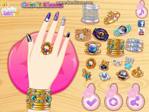 Super Cute Manicure Diy Tutorial Girl Game Video Galaxy Nail Art