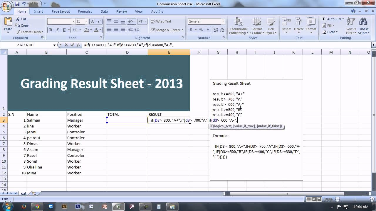 Creation of worksheet in ms excel