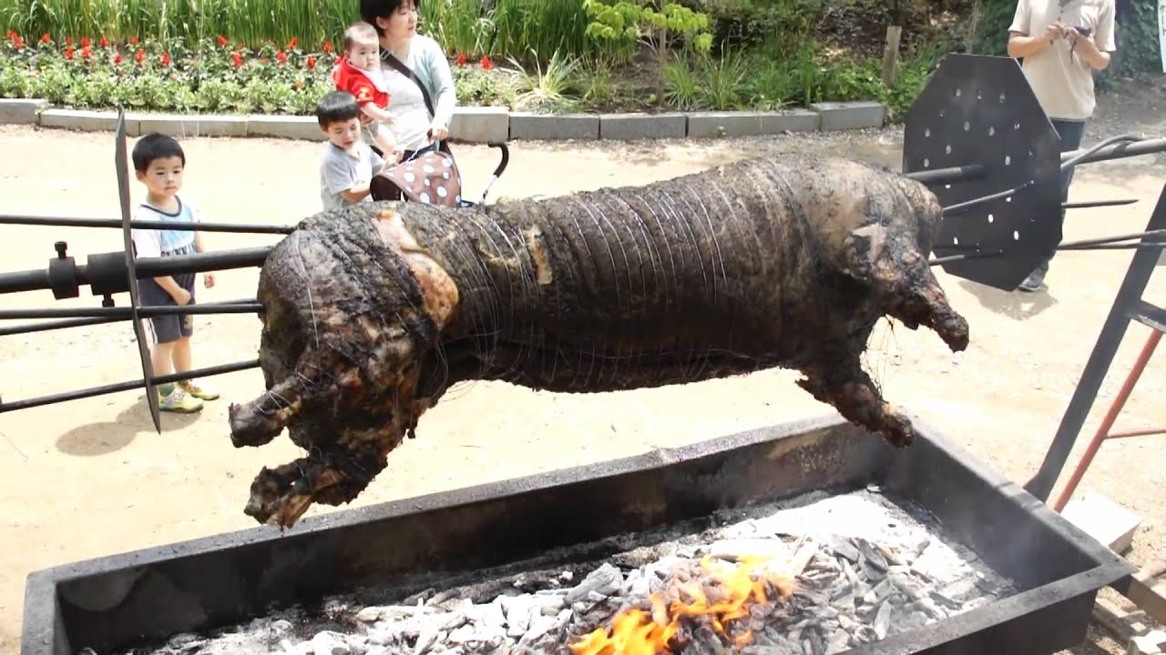 豚の丸焼き 夢農場ラベンダー祭り pig roasted whole - YouTube