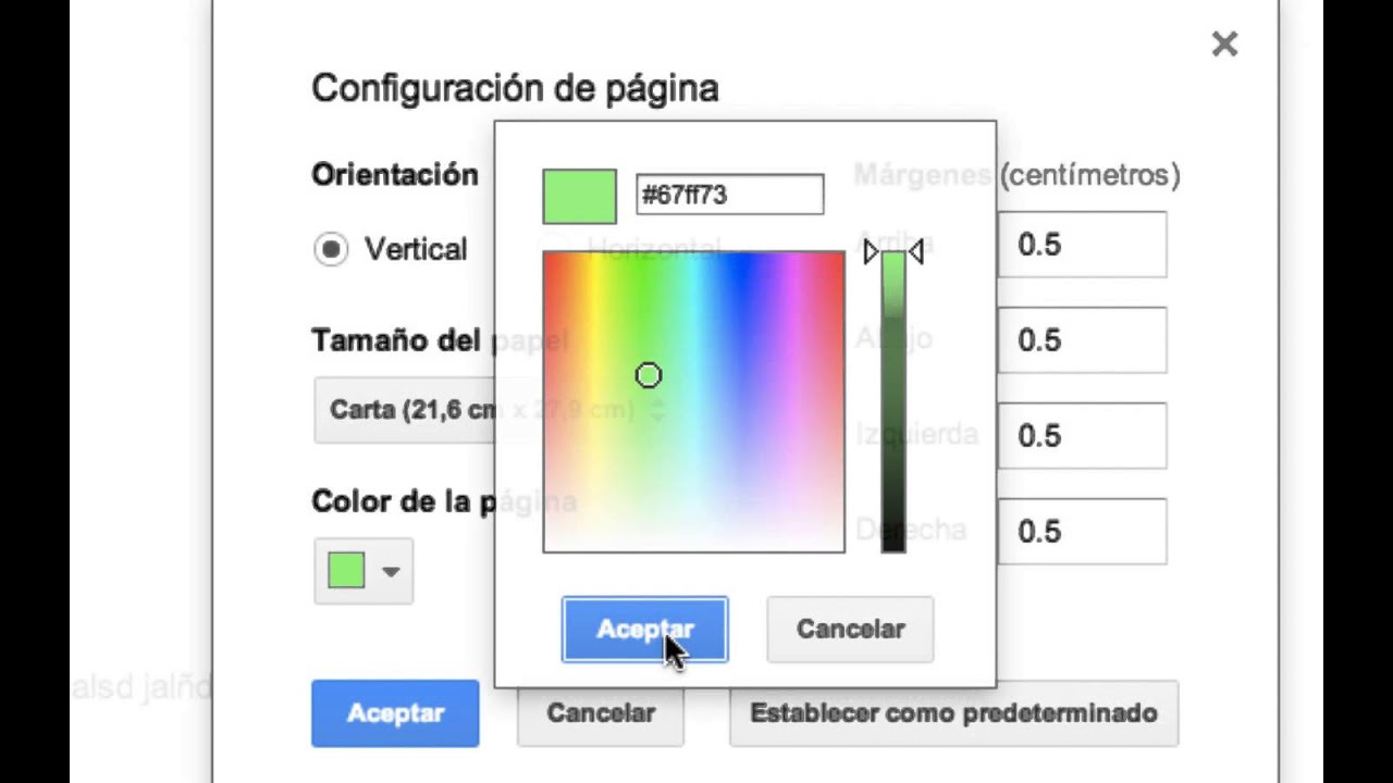 COMO CAMBIAR EL COLOR DE TRASFONDO EN GOOGLE DOCS - YouTube