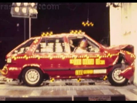 1989 Hyundai Excel / Mitsubishi Precis | Frontal Crash Test By NHTSA | CrashNet1