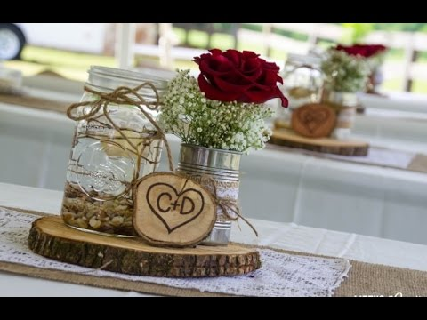 Mason Jar Burlap Wedding Centerpieces - YouTube