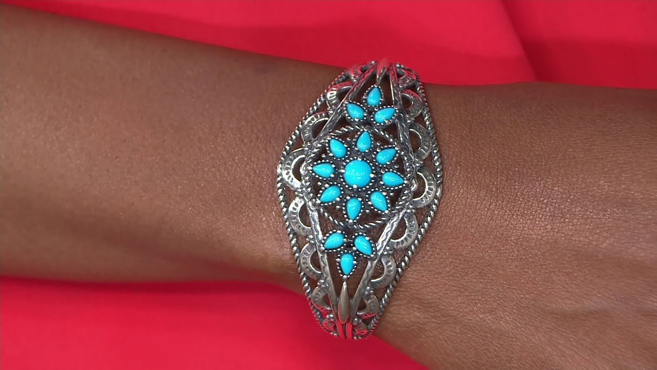 Bold Sterling Sleeping Beauty Turquoise Cuff Bracelet By American West On  QVC