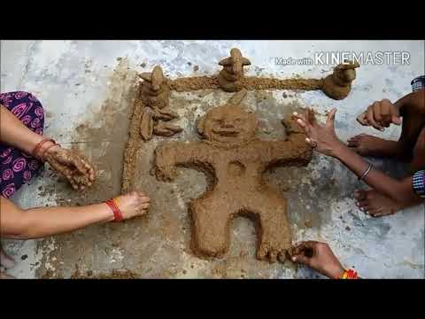Govardhan Pooja - Woman makes cow dung hillock to symbolize Mount Govardhan (How to make Goverdhan)