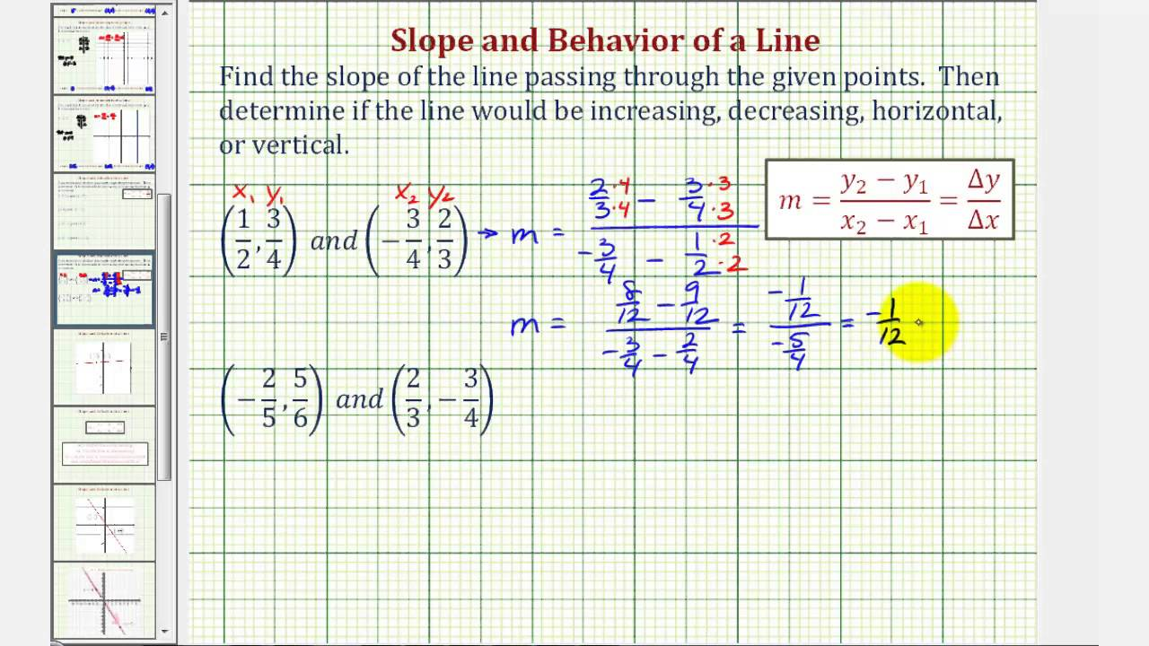 Ex: Find The Slope Given Two Points Containing Fractions And Describe The  Line