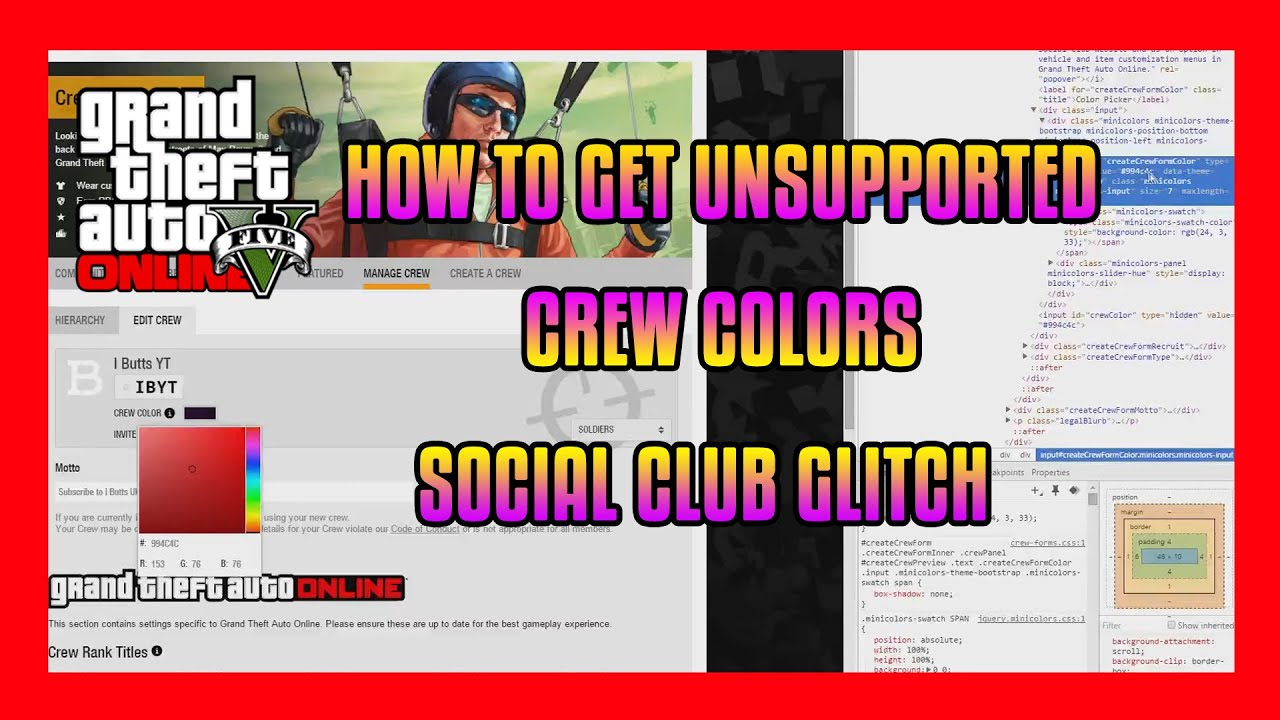 how to get unsupported crew colors social club glitch gta online modded crew colors youtube. Black Bedroom Furniture Sets. Home Design Ideas