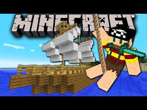 Minecraft 1.8 Snapshot: Moving Boat! Sailing Pirate Ship Ride in Vanilla (No Mods) 14w05b