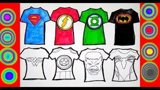 Superheroes Shirt Coloring Pages Hulk, Superman, Spiderman, Green lantern, batman, flash,wonderwoman