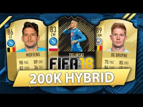 INSANE 200K HYBRID w/ IF ZIELINSKI + DE BRUYNE! FIFA 18 SQUAD BUILDER