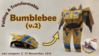 How to make a Papercraft, Origami Bumblebee V2 (requires 1-3 straight cut)
