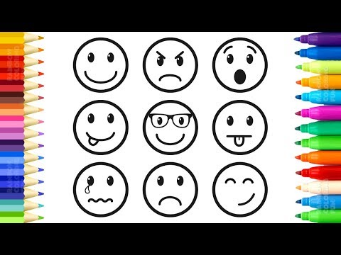 How To Draw And Color Emoticons - Emoji Faces Coloring Book For Kids