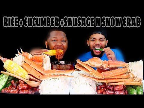 RICE + SNOW CRAB + CUCUMBERS & Sausage | MUKBANG DIPPIN DASH BUTTER SAUCE