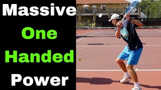 How to hit your ONE HANDED BACKHAND HARDER! Tennis tips and drills