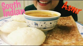 ASMR EATING IDLI SAMBAR AND DOSA | SOUTH INDIAN FOOD | *Indian Street Food* | Kareena Eats