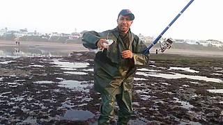 la pêche de hallama a skhirat ( MAROC) avec Ali et ses  amis le 11/01/2014