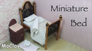 Dollhouse furniture tutorial. DIY miniature vintage bed