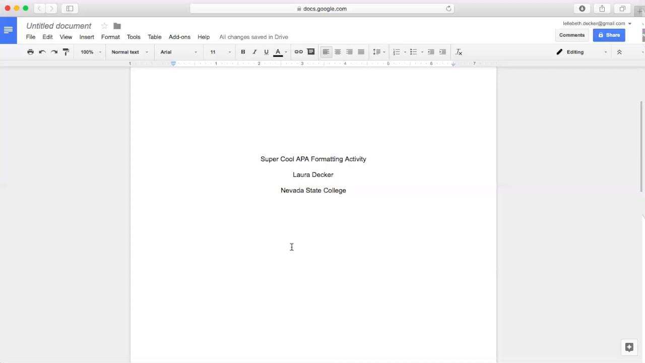 Formatting An Apa Paper Using Google Docs Youtube Apa template for google docs