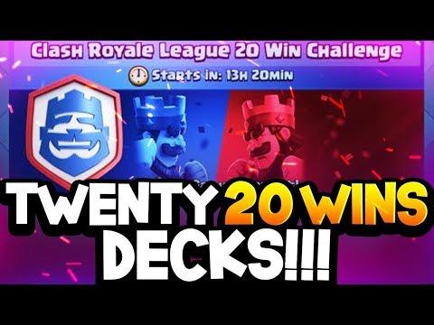Top TWENTY Decks that got 20 WINS in CRL Challenge!