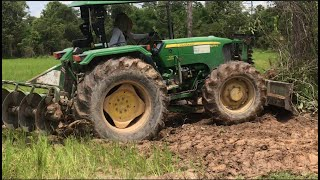 Tractor Pushing Over Trees - Land Clearing Equipment - ត្រាក់ទ័រ​ រុញព្រៃ