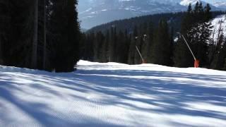 Fast Fun First Ski Run In Morning Flims