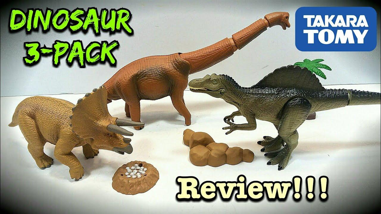Takara Tomy Dinosaur 3 Pack Review!!! Spinosaurus, Triceratops & Brachiosaurus!