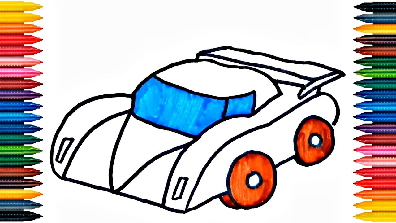 Drawing Car Learn How To Draw Colors Picture Coloring Book Page Colours For Kids