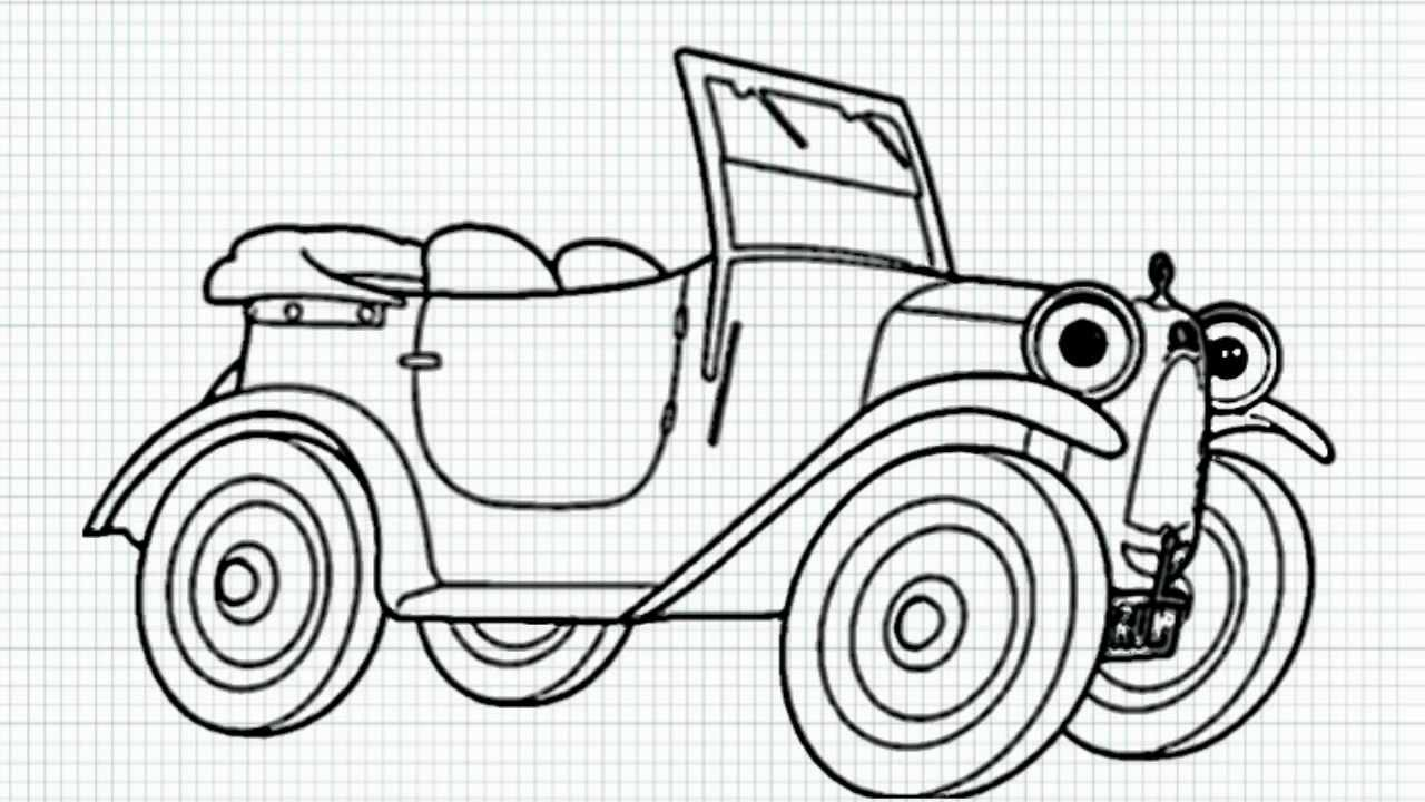 How To Draw Brum The Car From Brum Cartoon Series