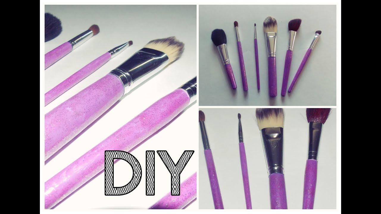 DIY Glitter Custom Makeup Brushes - YouTube