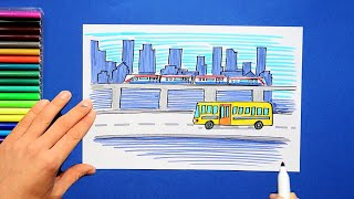 How to draw and color Public Transport - Use bus and metro for clean environment