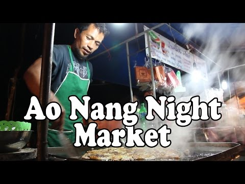 Ao Nang Night Market, Ao Nang Krabi Thailand. Thai Street Food & Shopping at Ao Nang Walking Street