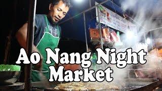 Ao Nang Night Market, Ao Nang Krabi Thailand. Thai Street Food & Shopping at Ao Nang Walking Street