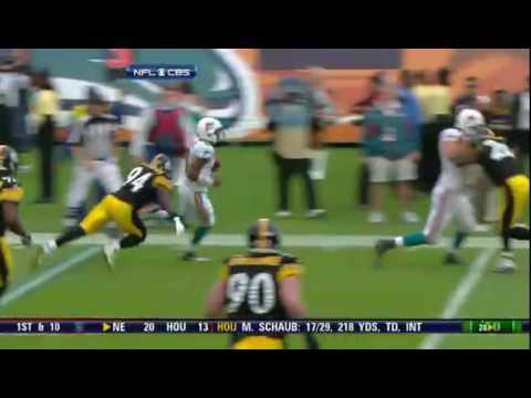 Pat White Injured on Helmet to Helmet Hit By Ike Taylor. Steelers vs. Dolphins.flv