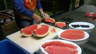 Slicing Watermelon for Platters at Raw N Ready
