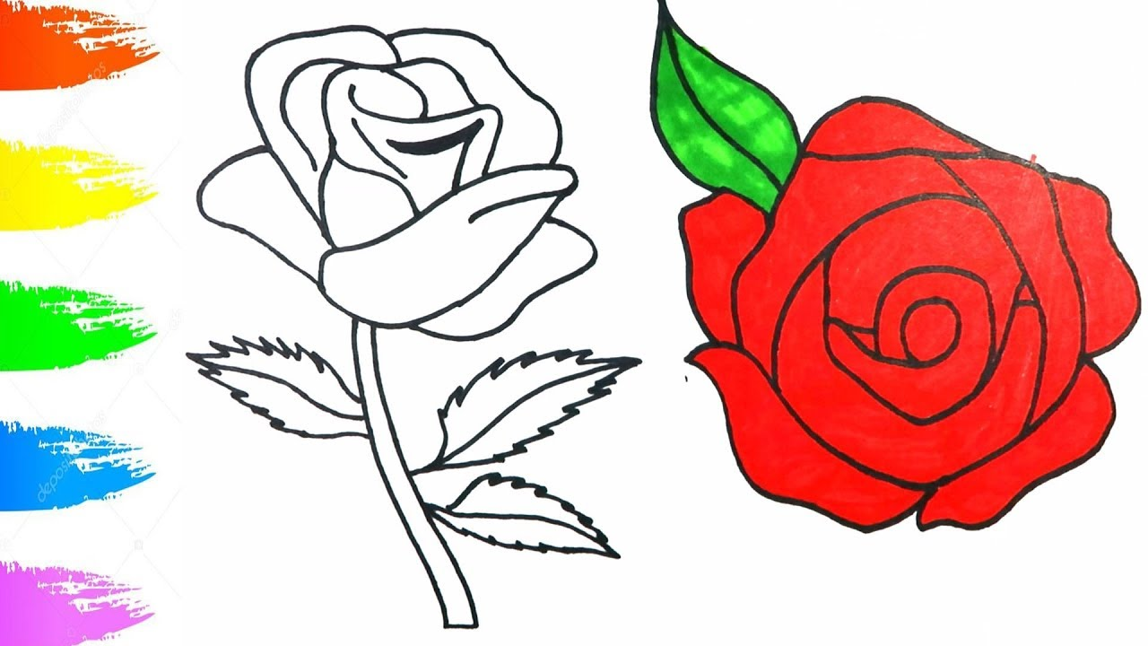 How To Draw Red Rose Easy Tutorial | Coloring Pages For Children ...