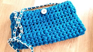 How to crochet a PURSE HANDBAG with t-shirt yarn ♥ CROCHET LOVERS