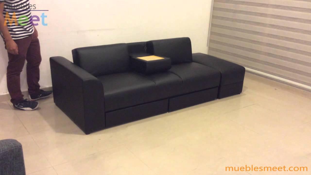 Sofa cama con cajones y mesa demostracion Muebles Meet