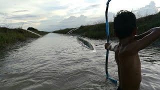 The boy Cambodia fished the fish never seen
