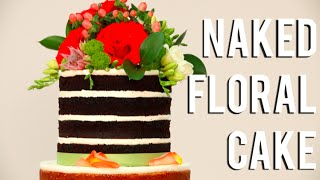 How To Make A NAKED FLORAL TIERED WEDDING CAKE! Vanilla and chocolate cakes, buttercream & flowers!