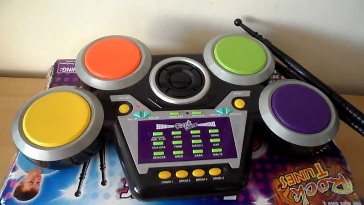 hear the rock tunes toy electronic drum machine youtube. Black Bedroom Furniture Sets. Home Design Ideas